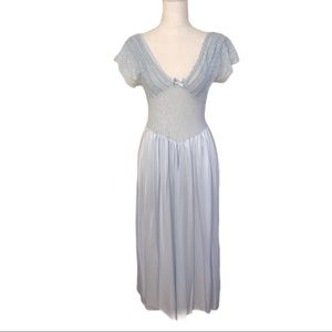 Vintage Cinema Etoile Light Blue Lace Nightgown